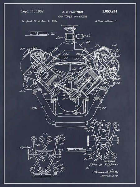Wall Art - Drawing - 1954 Chrysler 426 Hemi V8 Engine Blackboard Patent Print by Greg Edwards
