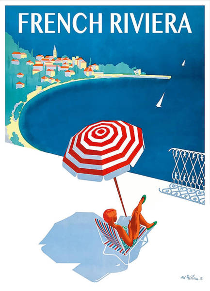Wall Art - Digital Art - 1954 French Riviera Travel Poster by Retro Graphics