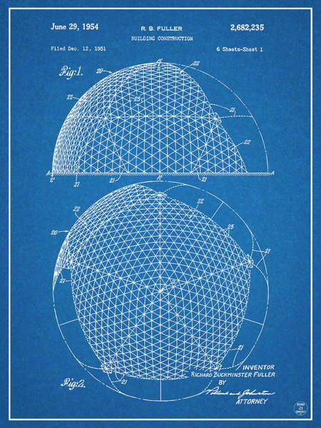 Wall Art - Drawing - 1954 Geodesic Dome Blueprint Patent Print by Greg Edwards
