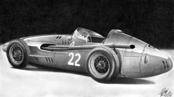 Wall Art - Drawing - 1954 Maserati 250f by Lyle Brown