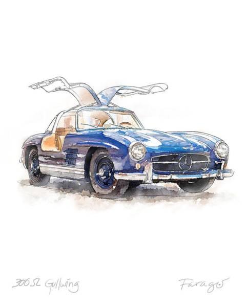 Wall Art - Drawing - 1954 Mercedes-benz 300 Sl Gullwing by Peter Farago