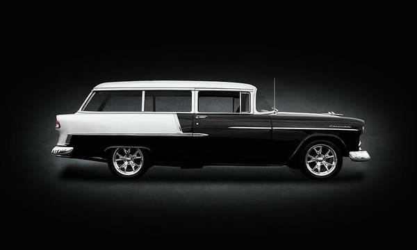 Mag Wheels Wall Art - Photograph - 1955 Chevrolet Bel Air Station Wagon  -  1955chevybelairwagonspottext149134 by Frank J Benz