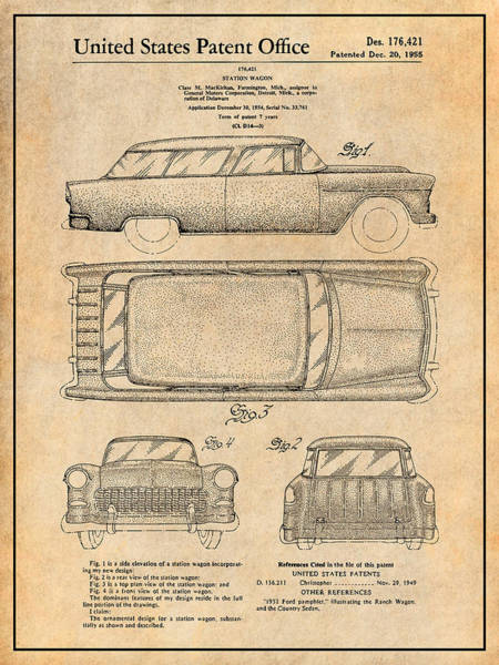 Nomad Drawing - 1955 Chevrolet Nomad Wagon Patent Print Antique Paper by Greg Edwards