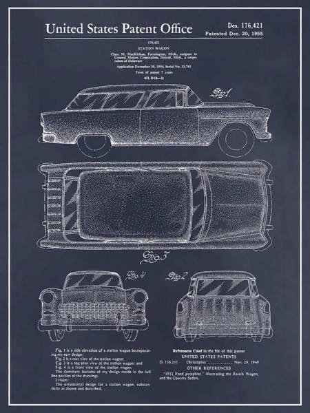 Nomad Drawing - 1955 Chevrolet Nomad Wagon Patent Print Blackboard by Greg Edwards