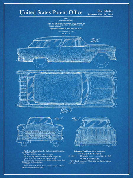 Nomad Drawing - 1955 Chevrolet Nomad Wagon Patent Print Blueprint by Greg Edwards