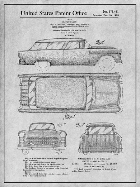 Nomad Drawing - 1955 Chevrolet Nomad Wagon Patent Print Gray by Greg Edwards