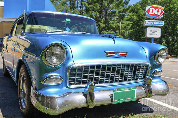 Wall Art - Photograph - 1955 Chevy Bel Air Blue Dairy Queen by Edward Fielding