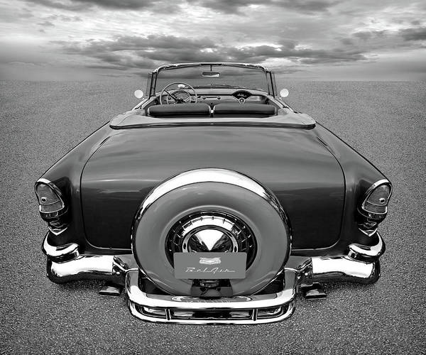 Photograph - 1955 Chevy Bel Air Convertible Black And White by Gill Billington