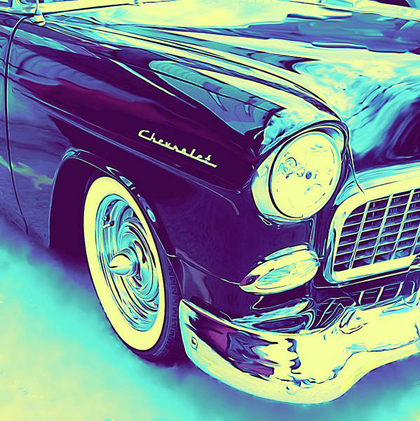 Digital Art - 1955 Chevy Custom Front Blue by David King