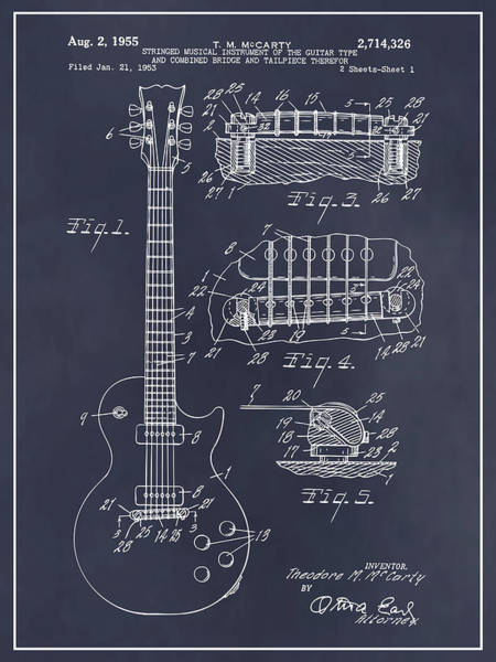 Wall Art - Drawing - 1955 Gibson Les Paul Guitar Patent Print Blackboard by Greg Edwards
