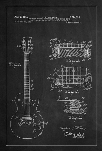 Photograph - 1955 Mccarty Gibson Les Paul Guitar Patent Artwork - Chalk by Carlos Diaz