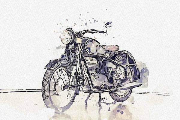 Wall Art - Painting - 1956 Bmw Motorcycles 250 2 Watercolor By Ahmet Asar by Ahmet Asar