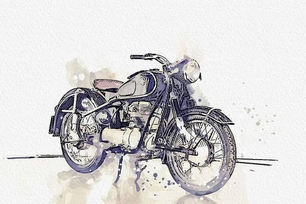 Wall Art - Painting - 1956 Bmw Motorcycles 250 3 Watercolor By Ahmet Asar by Ahmet Asar