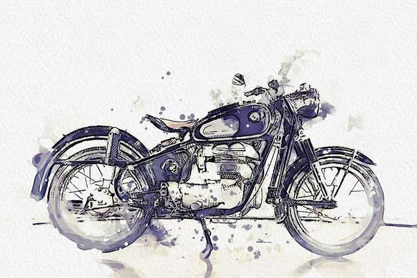 Wall Art - Painting - 1956 Bmw Motorcycles 250 4 Watercolor By Ahmet Asar by Ahmet Asar