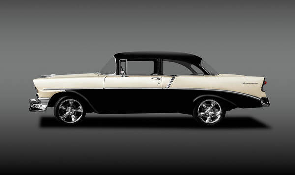 Mag Wheels Wall Art - Photograph - 1956 Chevrolet 210 Post Sedan  -  1956chevy210postsedangray196531 by Frank J Benz