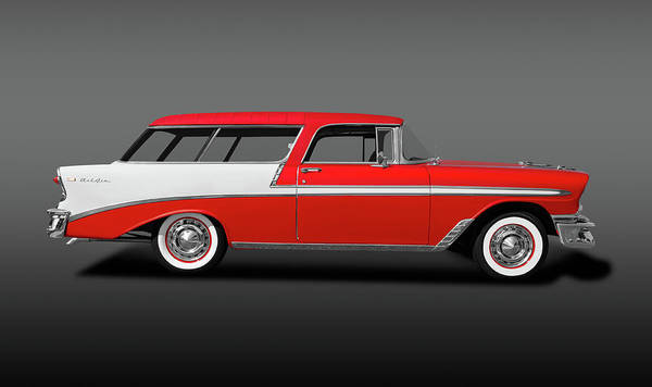 Wall Art - Photograph - 1956 Chevrolet Bel Air Nomad  -  1956chevynomadbelairgray196686 by Frank J Benz
