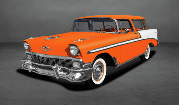 Wall Art - Photograph - 1956 Chevrolet Bel Air Nomad Wagon  -  1956chevybelairnomaddblgray153872 by Frank J Benz