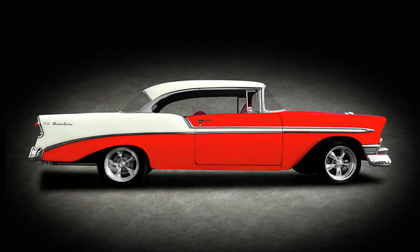 Mag Wheels Wall Art - Photograph - 1956 Chevrolet Bel Air Sport Coupe  -  1956chevybelairhdtptexture148997 by Frank J Benz