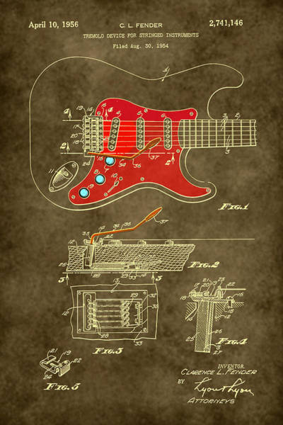 Digital Art - 1956 Fender Guitar Tremolo Patent Drawing by Carlos Diaz