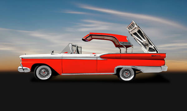 Wall Art - Photograph - 1959 Ford Skyliner Convertible Hardtop  -  1956fordskylinerhardtopcv149292 by Frank J Benz