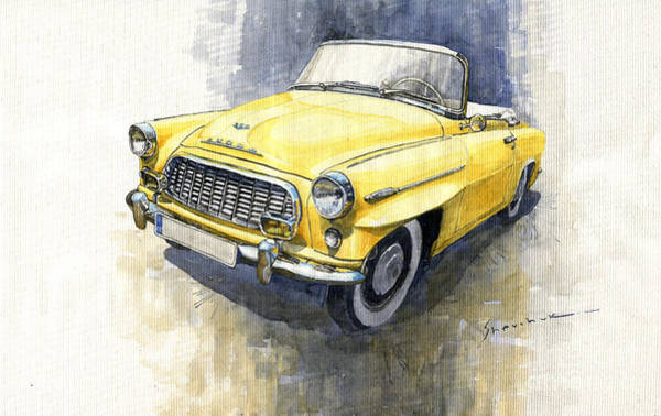 Wall Art - Painting - 1957-1959 Skoda 450 Cabrio  by Yuriy Shevchuk