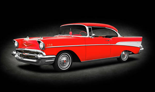 Wall Art - Photograph - 1957 Chevrolet Bel Air Sport Coupe  -  1957chevroletbelairhardtopcoupetexture142032 by Frank J Benz