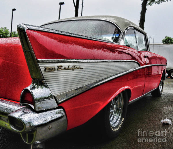 Wall Art - Photograph - 1957 Chevy Belair Tailfin Covered In Raindrops Full View by Paul Ward