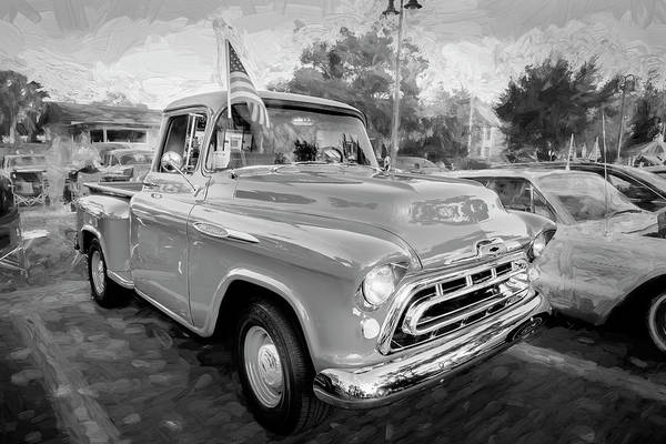 Wall Art - Photograph - 1957 Chevy Pick Up Truck 3100 Bw Series 112 by Rich Franco