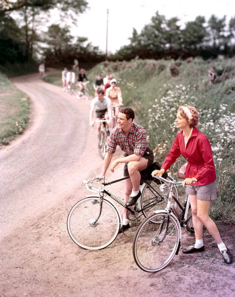 Beautiful People Photograph - 1958. A Group Of People On A Cycling by Popperfoto