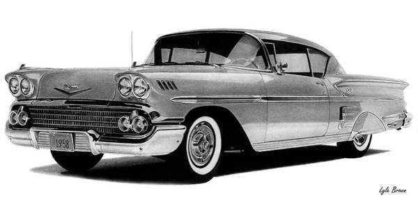 Chevrolet Drawing - 1958 Impala by Lyle Brown