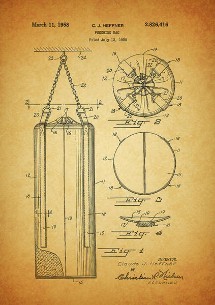 Drawing - 1958 Punching Bag Patent by Dan Sproul