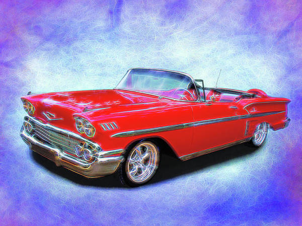 Digital Art - 1958 Red Chevy Convertable by Rick Wicker