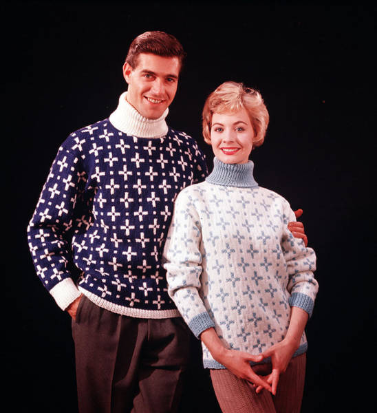 Heterosexual Couple Photograph - 1959. A Happy Couple Wearing Knitted by Popperfoto