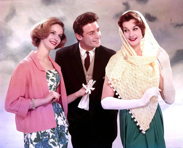Beautiful People Photograph - 1959. A Man And Two Women Smiling by Popperfoto