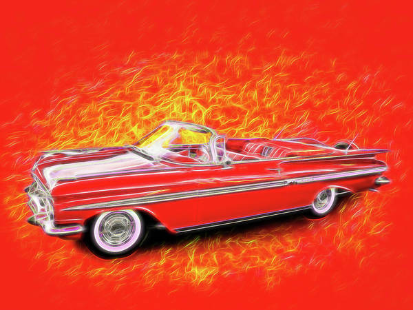 Digital Art - 1959 Chevy Convertable by Rick Wicker