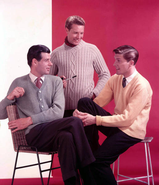 Sweater Photograph - 1959. Fashion. A Portrait Of Three Men by Popperfoto