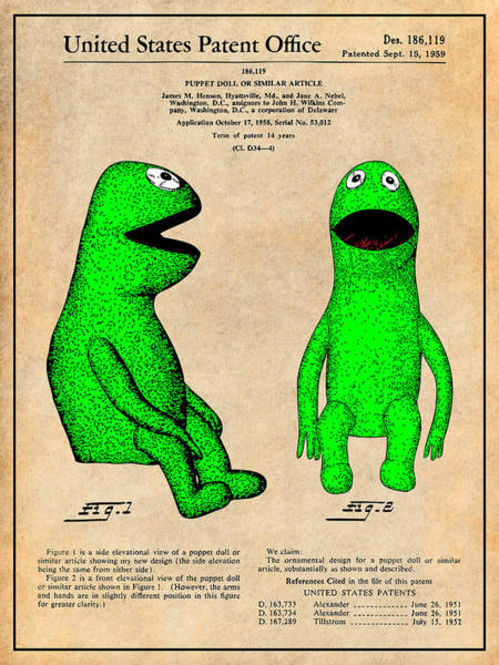 Wall Art - Drawing - 1959 Kermit The Frog Jim Henson Muppet Patent Print Antique Paper by Greg Edwards