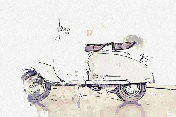 Painting - 1959 Lambretta Li125 Watercolor By Ahmet Asar by Ahmet Asar
