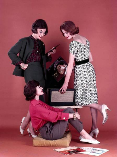 Cushion Photograph - 1959. Three Attractive Dark Haired by Popperfoto