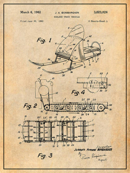 Wall Art - Drawing - 1960 Bombardier Snowmobile Antique Paper Patent Print by Greg Edwards
