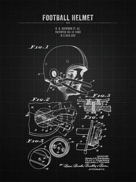 Wall Art - Digital Art - 1960 Football Helmet - Black Blueprint by Aged Pixel
