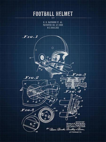 Wall Art - Digital Art - 1960 Football Helmet - Dark Blueprint by Aged Pixel