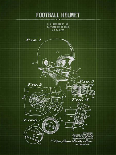 Wall Art - Digital Art - 1960 Football Helmet - Dark Green Blueprint by Aged Pixel