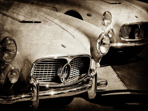 Wall Art - Photograph - 1960 Maserati Grille Emblem-1098scl3 by Jill Reger