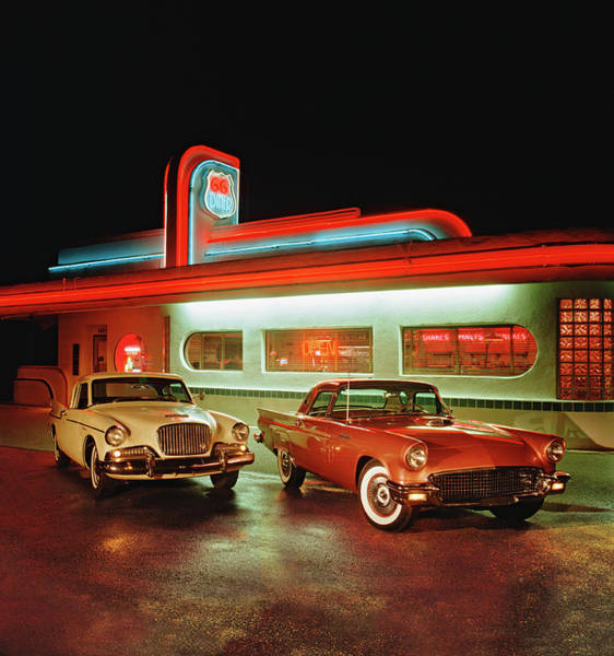 Sport Car Photograph - 1960 Studebaker Hawk And 1957 Ford by Car Culture