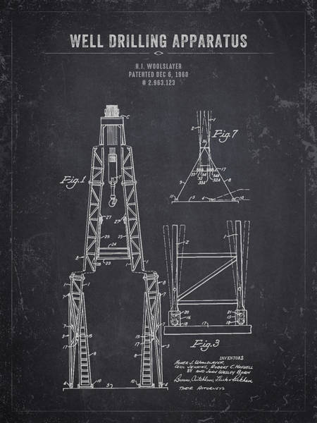 Wall Art - Digital Art - 1960 Well Drilling Apparatus - Dark Charcoal Grunge by Aged Pixel