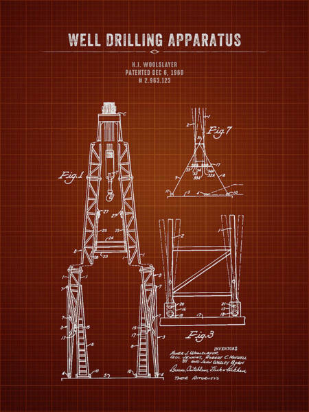 Wall Art - Digital Art - 1960 Well Drilling Apparatus - Dark Red Blueprint by Aged Pixel