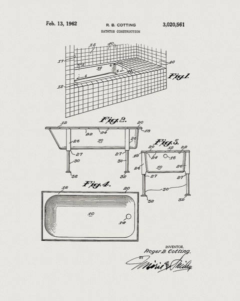 Drawing - 1962 Bathtub Patent by Dan Sproul