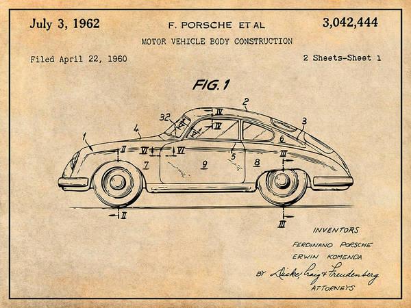 Wall Art - Drawing - 1962 Porsche 356 Speedster Patent Print Antique Paper by Greg Edwards