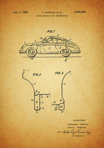 Drawing - 1962 Porsche Body Patent by Dan Sproul